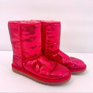 UGG Classic Cosmos Sequin Short Red Boots Size 9